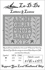 Letters & Leaves Free Cross Stitch Chart from La-D-Da